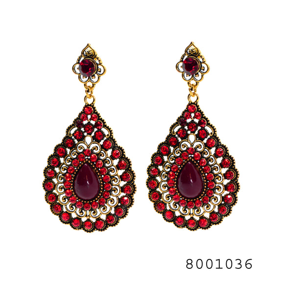 Ethnic Red Color Gem studded Designer large size Fashion Designer Earrings - FlipJewels