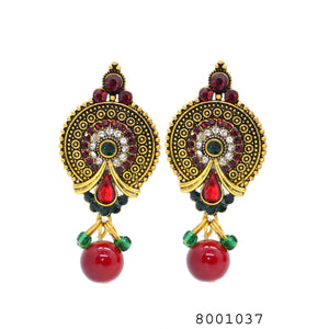 Ethnic Red Gem and Yellow Gold Colour Heavy Jhumki Traditional Earrings - FlipJewels