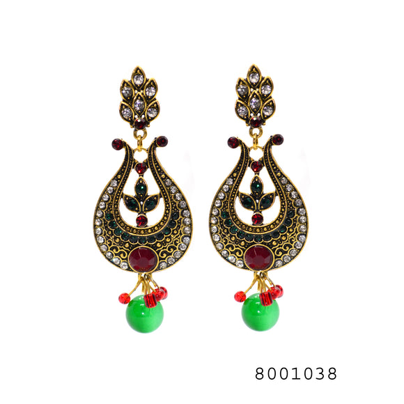 Multicolour Ethnic Classical Chand bali Earrings - FlipJewels