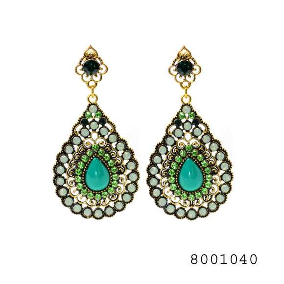 Ethnic Green Color Gem studded Designer large size Fashion Designer Earrings - FlipJewels