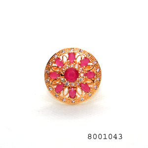 Red and Diamond CZ Gold Colour CZ Jewellery Fashion Ring - FlipJewels