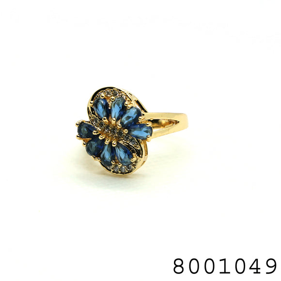 Blue CZ Designer Floral Gold Colour Designer CZ Jewellery Ring - FlipJewels