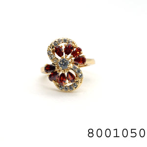 Yellow Gold colour Red CZ Jewellery Ring - FlipJewels