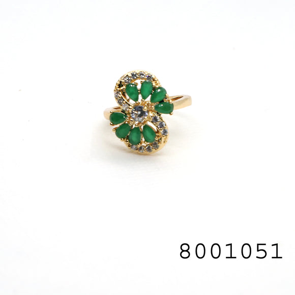 Emerald and Diamond CZ Yellow gold colour Designer CZ Jewellery Ring - FlipJewels