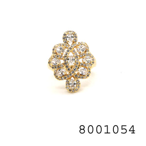 Diamond CZ Yellow Gold colour Designer fashion CZ Jewellery Ring - FlipJewels