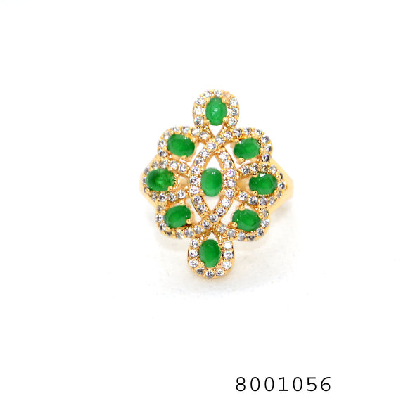 Green Emerald CZ 9 stones Designer Yellow Gold Colour Fashion Ring - FlipJewels