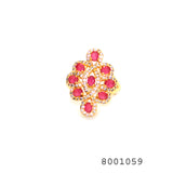 Red and Diamond CZ Yellow gold Colour Designer CZ Jewellery Ring - FlipJewels
