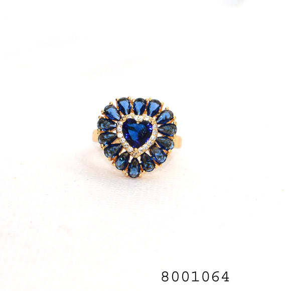 Blue CZ Heart Shape Gold Colour Ring - FlipJewels