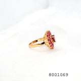 Red CZ Heart Shape Gold Color Designer CZ Jewellery Ring - FlipJewels