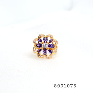 Purple and Diamond CZ Gold Colour Cluster Fashion CZ Jewellery Ring - FlipJewels