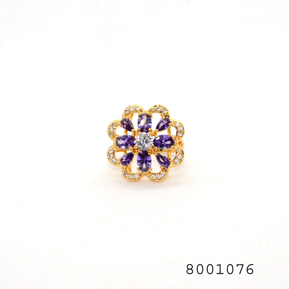 Purple and Diamond CZ Gold Colour Fashion CZ Jewellery Designer Ring - FlipJewels