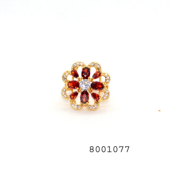 Red CZ and Diamond CZ Yellow gold Colour Flower Design CZ Jewellery Ring - FlipJewels