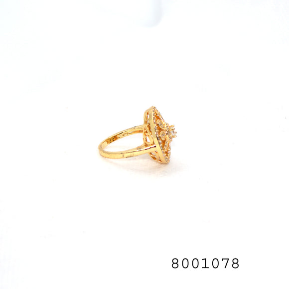 Diamond CZ Yellow Gold colour Designer CZ Jewellery Ring - FlipJewels