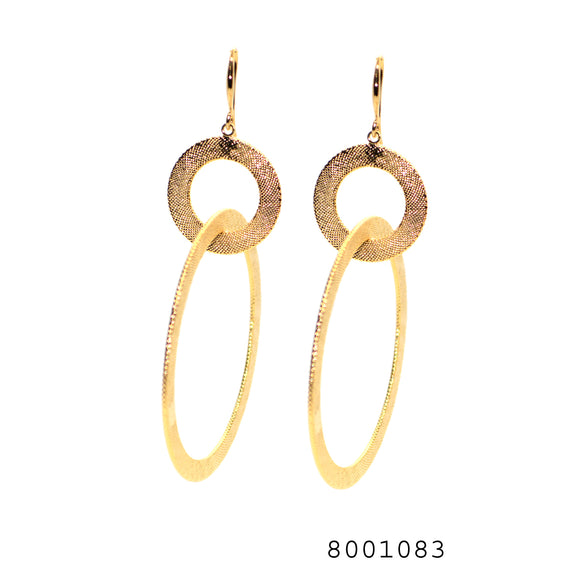 Hoop Earring In Texture Yellow Gold Bond In Brass - FlipJewels