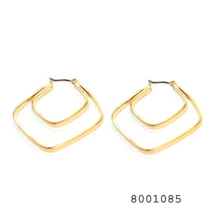 Yellow Gold Colour Designer Frame Earrings - FlipJewels