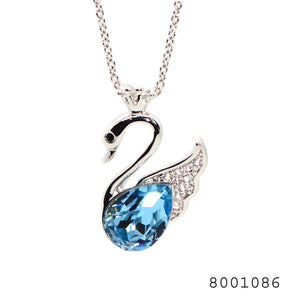 Blue and White Diamond CZ Swarovski Crystals Swan Designer Necklace with Chain - FlipJewels