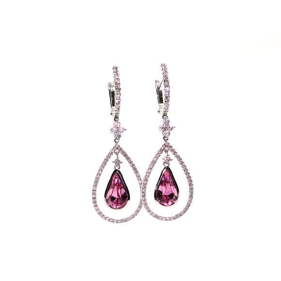 Pink and Diamond CZ Swarovski Crystals Silver Colour Designer CZ Jewellery Earrings - FlipJewels
