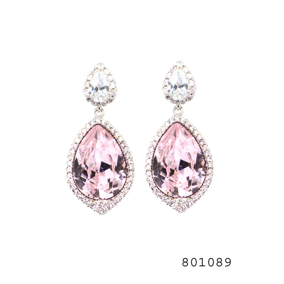Pink and Diamond Swarovski Crystals CZ Studded Designer Fashion Earrings - FlipJewels