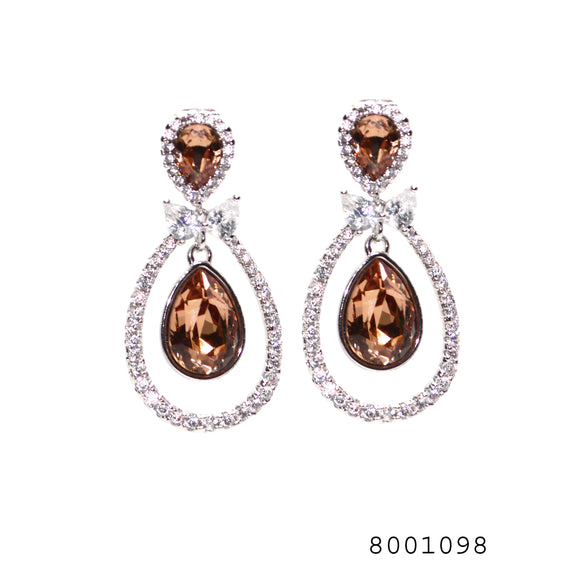 Brown and Diamond CZ Swarovski Crystals Silver Colour Earrings - FlipJewels