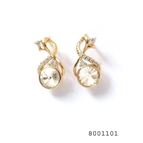 Simulated Diamonds Swarovski Crystals Studded In 18K Yellow Gold Bond Brass Designer Earrings - FlipJewels