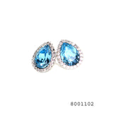 Blue and White CZ Swarovski Crystals Designer Fashion CZ Jewellery Earrings - FlipJewels