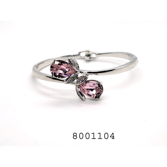 Pink and Diamond Swarovski Crystals Classic Silver Colour Designer CZ Jewellery Bangle - FlipJewels
