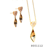 Sim. Yellow Sapp. and Sim. Diamond Classic Gold Bond Brass Fashion Pendant and Earring set - FlipJewels