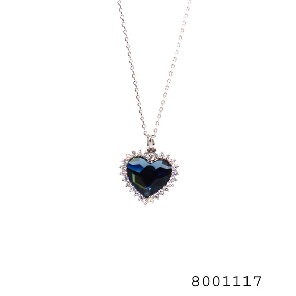 Blue and Diamond CZ Swarovski Crystals Heart Designer Pendant - FlipJewels