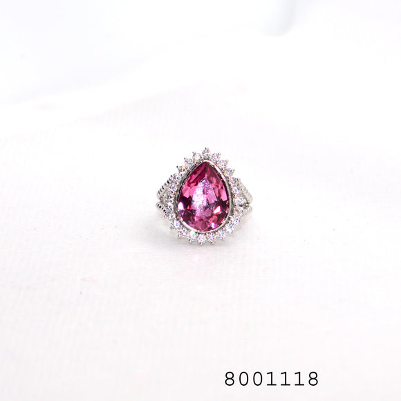 Pink CZ and Diamond CZ Classic Silver Colour Designer Fashion CZ Jewellery Ring - FlipJewels