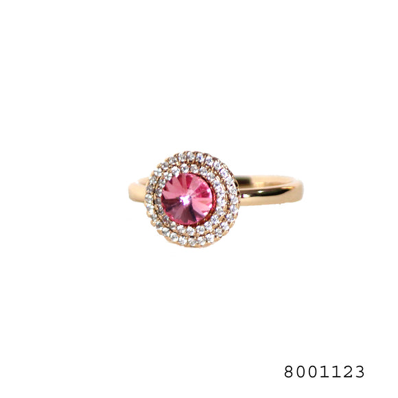Pink CZ and Diamond CZ Swarovski Crystals Classic Silver Colour Designer Fashion CZ Jewellery Ring - FlipJewels