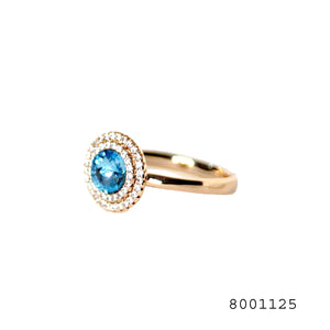 Blue and White CZ Swarovski Crystals Designer Fashion Ring - FlipJewels