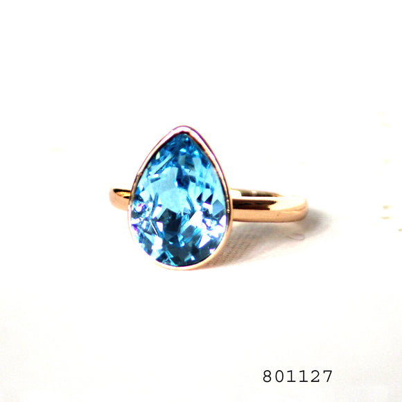Blue Swarovski Crytals Gold Colour Solitaire Designer CZ Jewellery Ring - FlipJewels