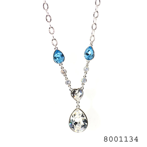 Blue and White Diamond CZ Swarovski Crystals Silver colour Necklace - FlipJewels