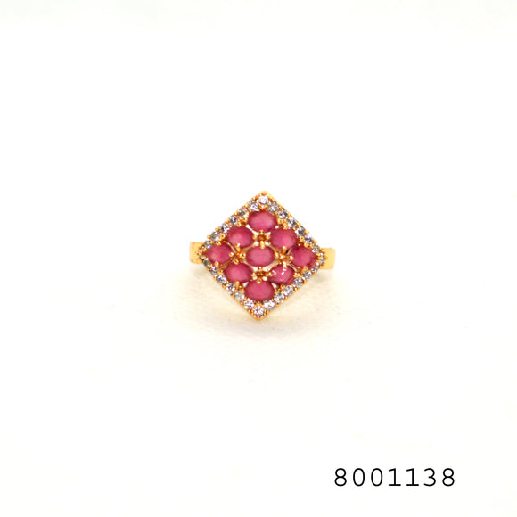 Simulated Ruby and Simulated Diamond Frame Shaped Yellow Bond Brass Metal Ring - FlipJewels