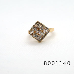 Simulated Diamond Frame Shaped Yellow Bond Brass Metal Ring - FlipJewels