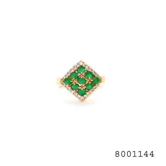 Simulated Emerald and Simulated Diamond Frame Shaped Yellow Bond Brass Metal Ring - FlipJewels
