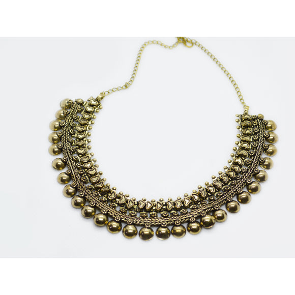 Ethnic fusion multirow 1gm gold necklace for women - FlipJewels