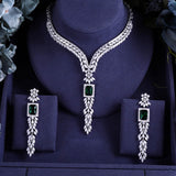 Big Emerald Green and Diamond CZ Waterfall Necklace Jewelry Set - FlipJewels