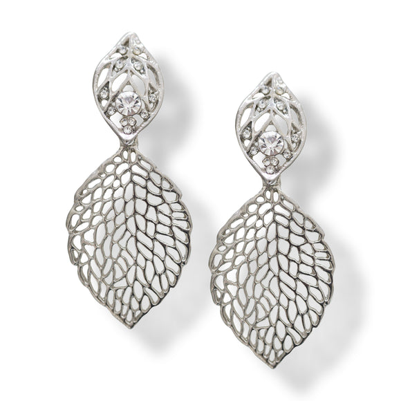 Silver colour Designer Leaf earring with American Diamond