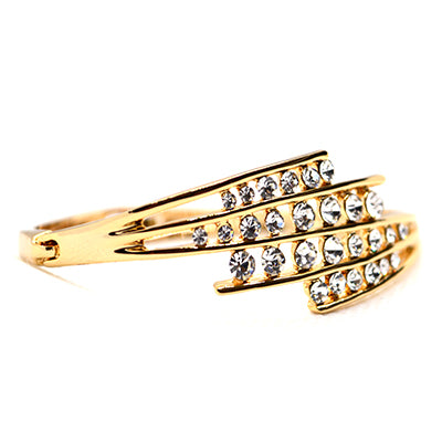 American Diamond AAA CZ 18K Gold Finish Designer Bangle by FlipJewels