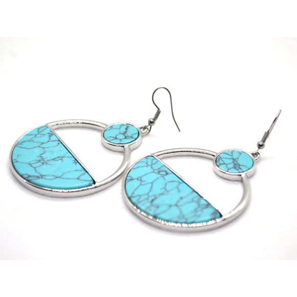 Turquoise Simulated Contemporary Bohemian Fashion Silver Plated colour Earring - FlipJewels