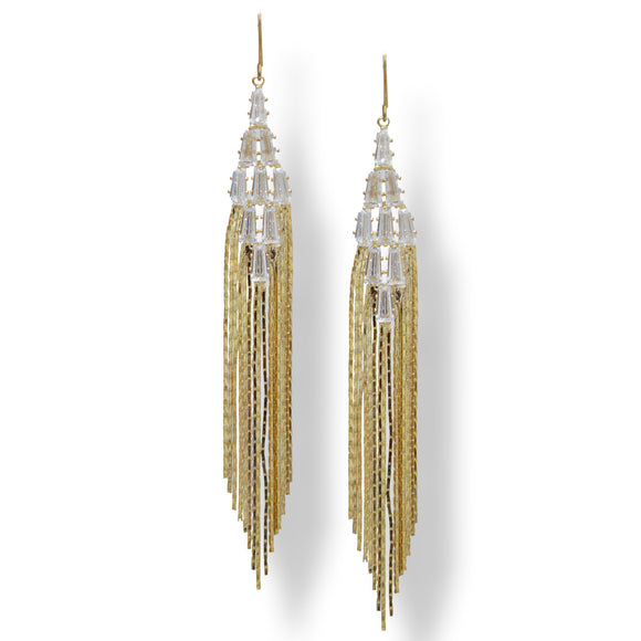 Dangling waterfall design American diamond Premium Latest fashion earrings.