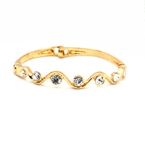 Big American Diamond AAA CZ 18K Gold Finish Designer Bangle