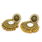 Classical Gold Colour Ethnic Chandbali with Mirror Golden beads Earrings - FlipJewels
