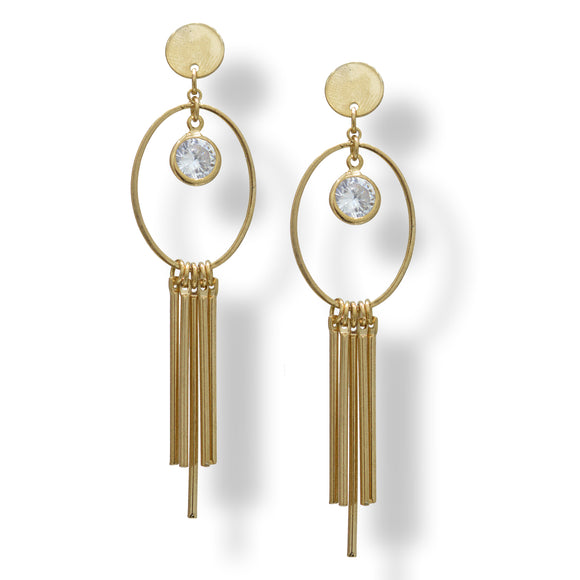 American diamond yellow gold plated latest fashion earring