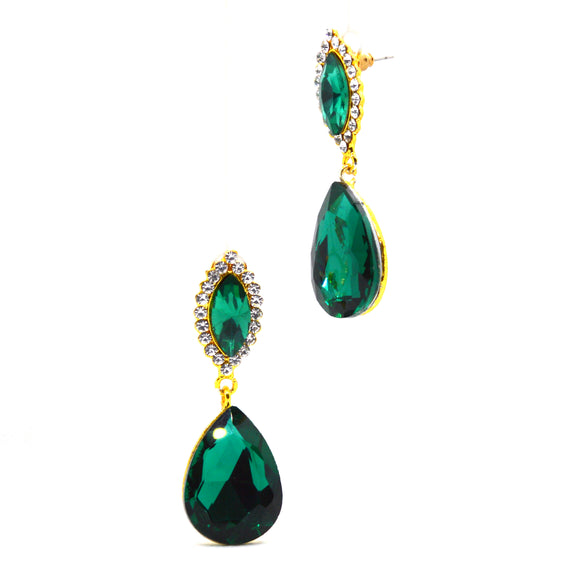 Big Green Colour stone with Diamond CZ Dangling earrings - FlipJewels