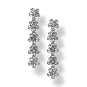 Long dangling Silver colour floral latest designer earrings with American Diamonds
