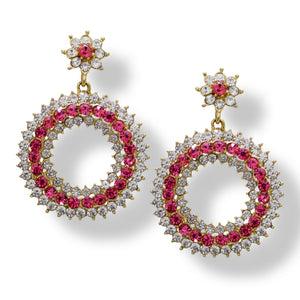 Buy Fashion Earrings Online  Designer Earrings studded with American Diamonds and Ruby CZ