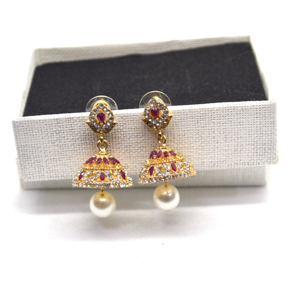 Ethnic collection Pearl and Ruby Simulant Jhumki earring in Gold colour - FlipJewels