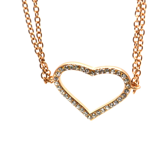 American Diamond Heart Pendant CZ Jewellery Light Weight Necklace - FlipJewels